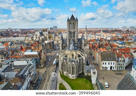 Aerial view on the center of Ghent with Saint Nicholas Church in Belgium, from the Belfry tower - stock photo