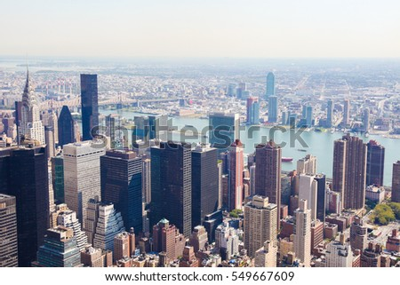 Aerial view on the center of Manhattan, New York City, United States