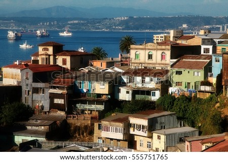 Aerial view on the city of Valparaiso, Chile