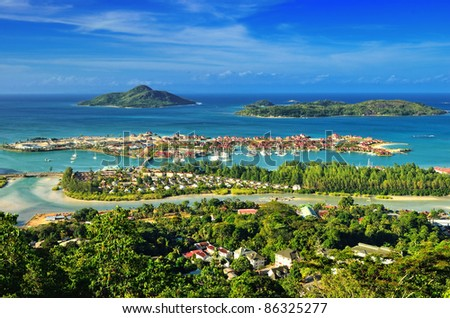 Aerial view on the coastline of the Seychelles Islands and luxury Eden Island from Victoria viewpoint, Mahe - stock photo