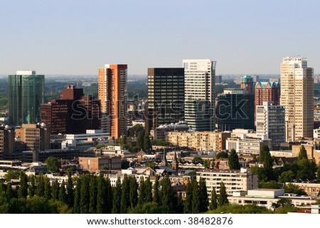 Aerial view on the downtown of Rotterdam. View from Euromast - stock photo