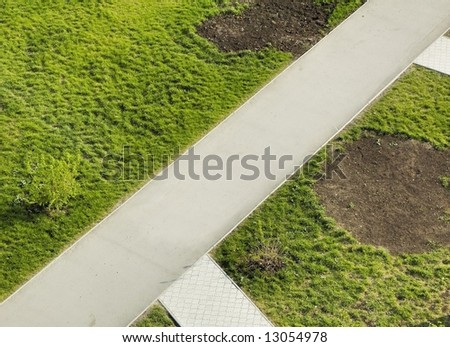 Aerial view on the gravel path in a garden