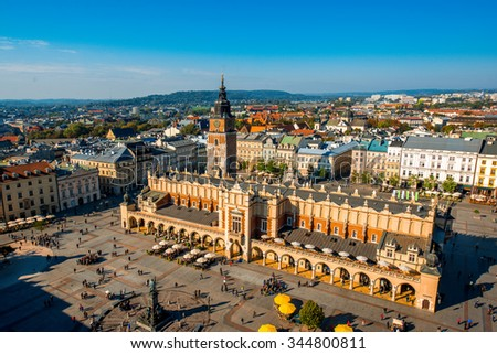 Aerial view on the main market square from St. Mary's basilica tower in Krakow - stock photo