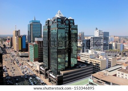 Aerial view on the main street of Harare in Zimbabwe - stock photo