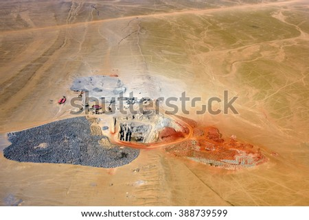 Aerial view on the mining development, quarry in Namib desert, Namibia - stock photo