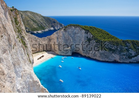 Aerial view on the most beautiful beach on Zakynthos island - Navagio with shipwreck (Greece, Ionian islands) - stock photo