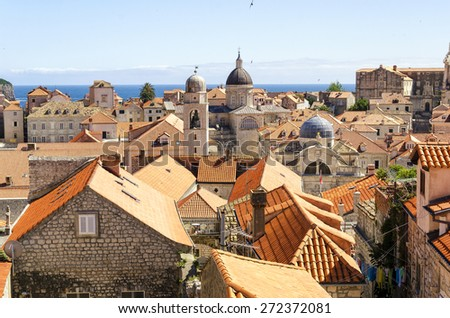 Aerial View on the Old City of Dubrovnik from the City Walls, Croatia - stock photo