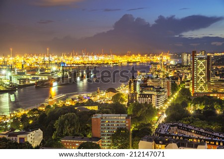 Aerial view on the port of Hamburg at the evening from church of Saint Michael, Germany - stock photo