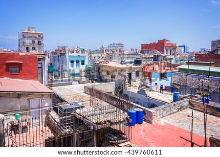 Aerial view on the roofs of Havana, Cuba - stock photo