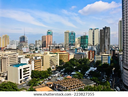 Aerial view on the skyline of Manila in the Philippines - stock photo