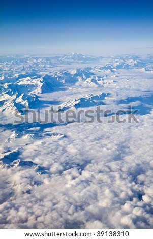 Aerial view on the Swiss alps - stock photo