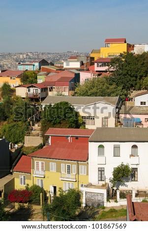 Aerial view on Valparaiso, Chile - stock photo