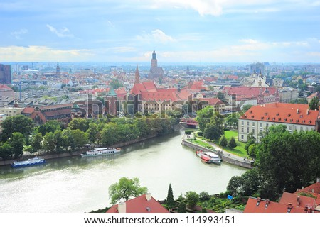 Aerial view on Wroclaw from  Cathedral of St. John the Baptist. WrocÃ?Â??aw is the historical capital of Silesia. - stock photo