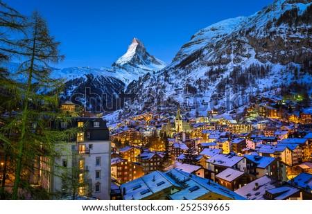 Aerial View on Zermatt Valley and Matterhorn Peak at Dawn, Switzerland - stock photo
