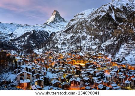Aerial View on Zermatt Valley and Matterhorn Peak in the Morning, Switzerland - stock photo