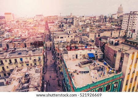 Aerial view over cityscpae of Havana, Cuba. Toned and retro stylized image.