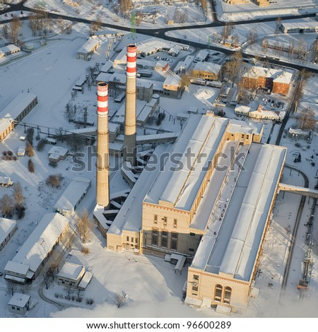 aerial view over electrical power plant - stock photo
