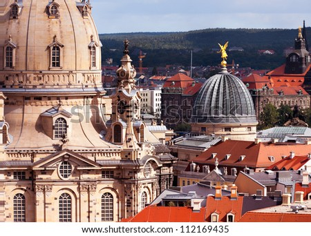 Aerial view over Frauenkirche and roofs of old Dresden - stock photo