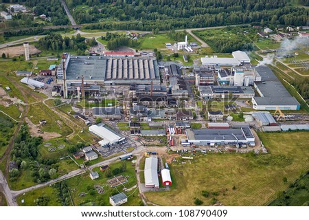 Aerial view over glass fiber factory in Valmiera, Latvia - stock photo