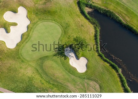 Aerial view over golf field  near Wroclaw city in Poland - stock photo