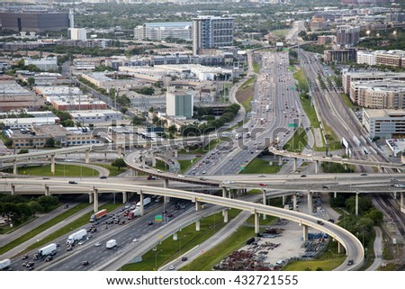 Aerial view over highways in Dallas. Texas, United States