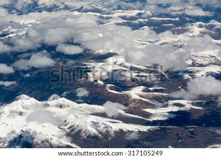 Aerial view over himalayas in Tibet