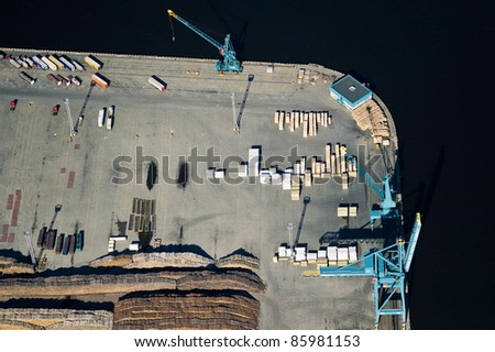 Aerial view over industrial port - stock photo