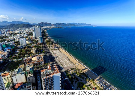 Aerial view over Nha Trang city, Vietnam taken from rooftop, extreme wide angle