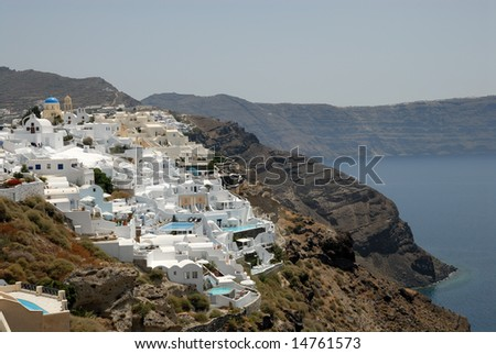 Aerial view over Oia, town on the island Santorini, Greece