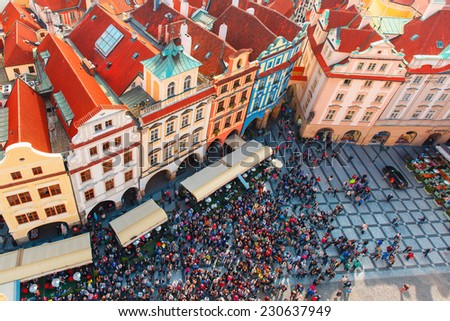 Aerial view over Old Town in Prague, Czech Republic  - stock photo