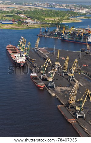 Aerial view over port of Riga - stock photo