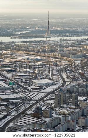 aerial view over Riga city - stock photo