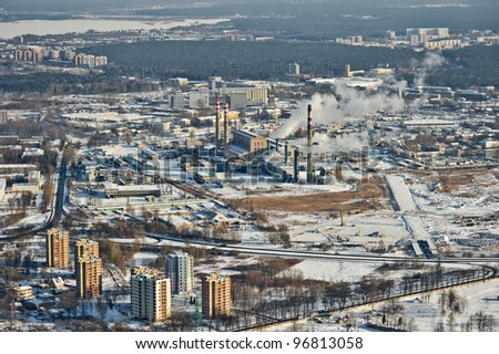 aerial view over Riga city suburb and power station - stock photo