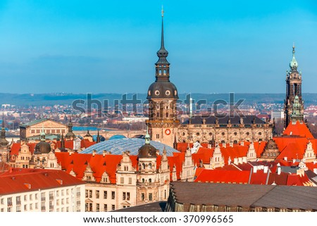 Aerial view over Royal Palace, river Elbe with Augustus Bridge, Hofkirche, and roofs of old Dresden, Saxony, Germany - stock photo