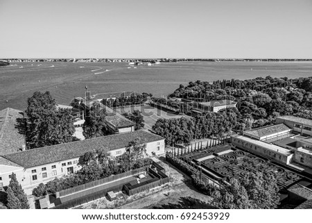 Aerial view over San Giorgio island in Venice