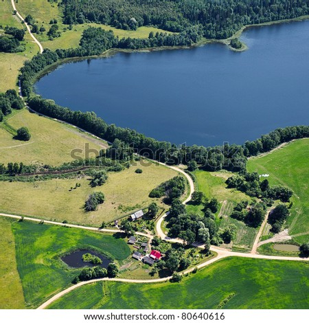 Aerial view over small village in Latgale region, Republic of Latvia
