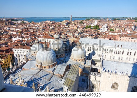Aerial view over St Mark s square and Basilica San Marco in Venice