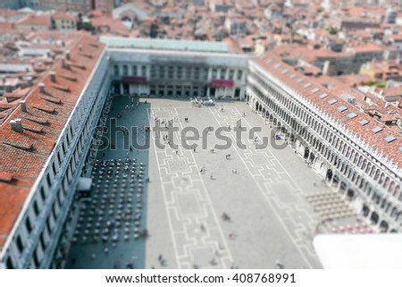 Aerial view over St Mark's Square in Venice, Italy. Tilt-shift effect applied - stock photo