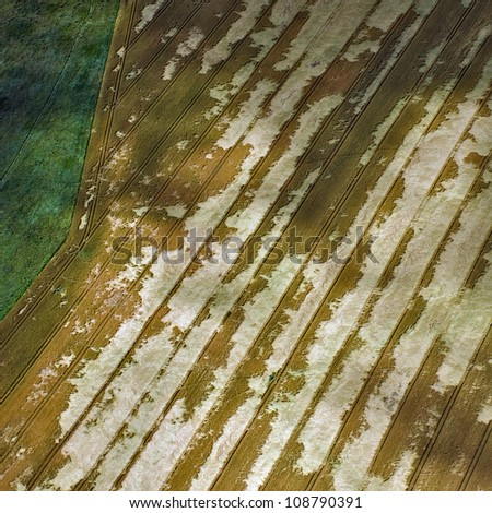 aerial view over the agricultural fields - stock photo