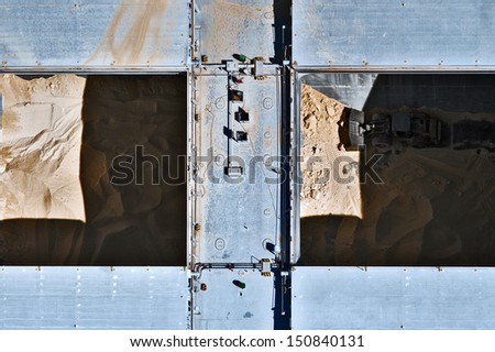 Aerial view over the barge at the port - stock photo