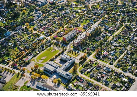 aerial view over the city - stock photo