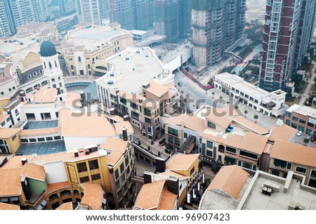 aerial view over the city  in shanghai China