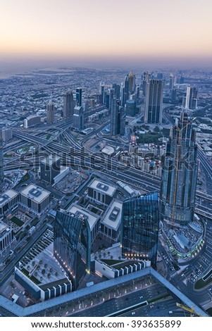 aerial view over the city of dubai in the evening, UAE, Middle East