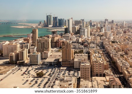 Aerial view over the city of Manama, Kingdom of Bahrain, Middle East