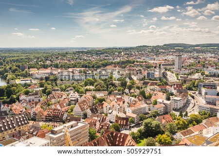 Aerial view over the city of Ulm (Germany)