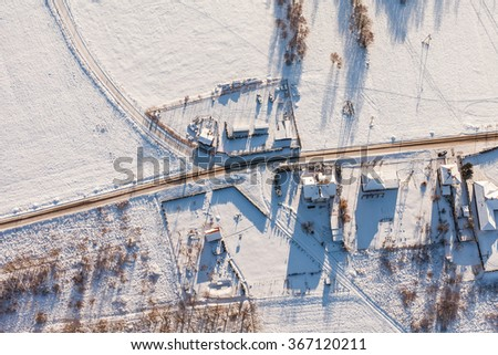 aerial view  over the harvest fields in winter  in Poland