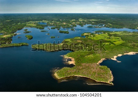 aerial view over the lake - stock photo