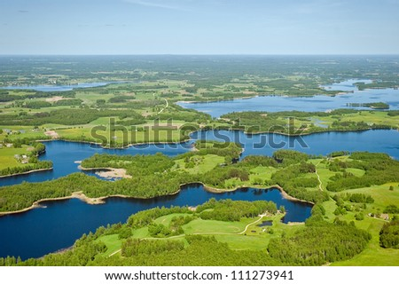 aerial view over the lake in Latvia - stock photo