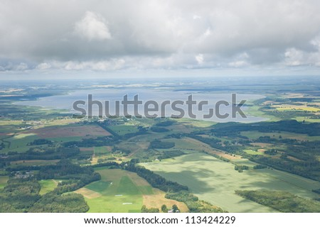 aerial view over the lake in Latvia