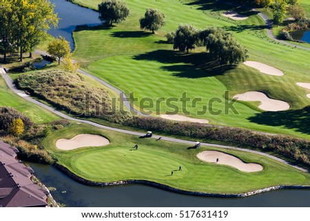 Aerial view over the Laprairie golf course seen at fall on the Montreal south-shore, Canada.
